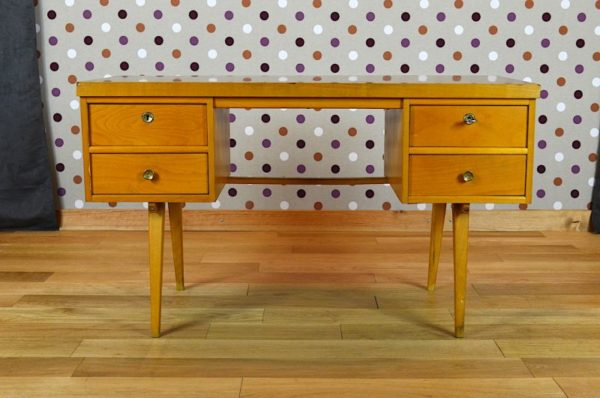 bureau vintage 1950 bois clair