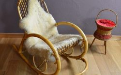 Rocking Chair en Rotin Design Vintage 1960