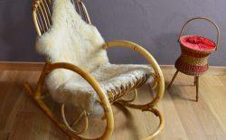 Rocking Chair en Rotin Design Vintage 1960
