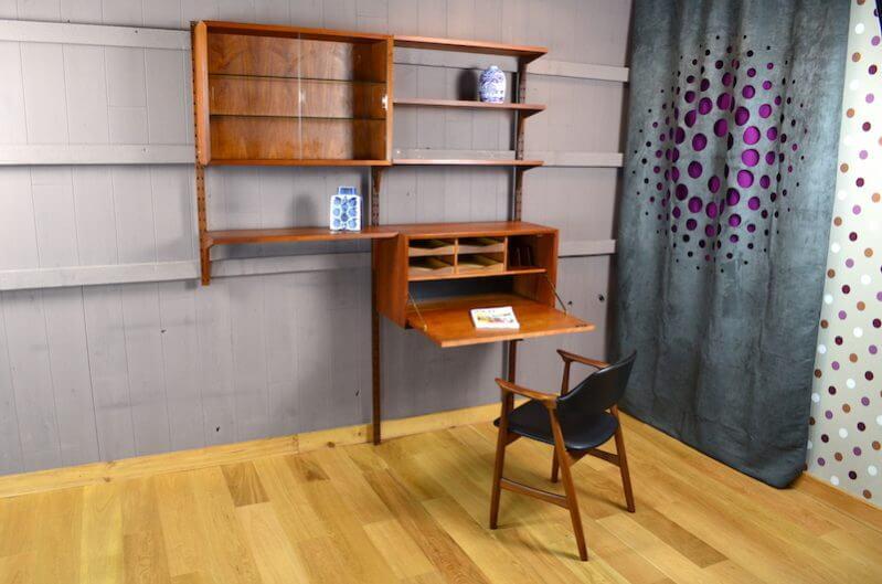 syst me mural danois en teck p cadovius vintage 1960. Black Bedroom Furniture Sets. Home Design Ideas