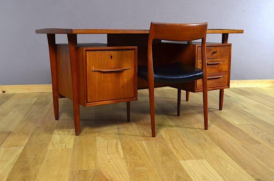 bureau design scandinave en teck swiss teak vintage 1960 - Bureau Design Scandinave
