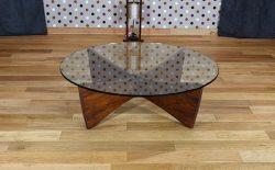 Table Basse Scandinave en Palissandre de Rio & Verre Vintage 1960