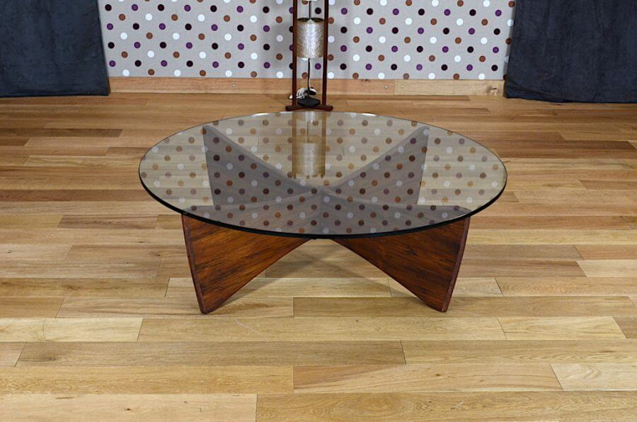 table basse scandinave en palissandre de rio verre vintage 1960. Black Bedroom Furniture Sets. Home Design Ideas