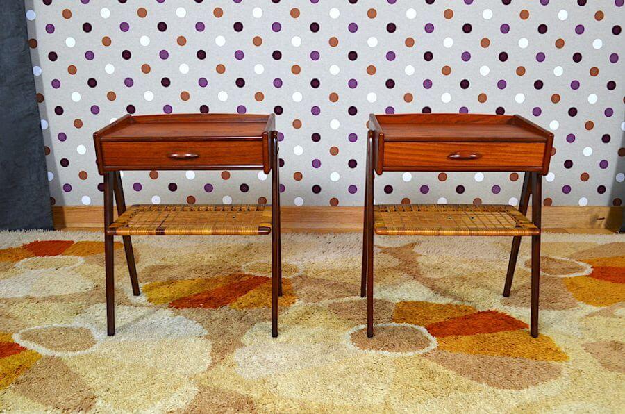 Paire De Chevet Scandinave En Teck Rotin Vendu Design Vintage Avenue