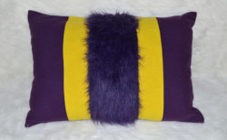 Coussin Design Fourrure Coloris Prune / Jaune Made in France