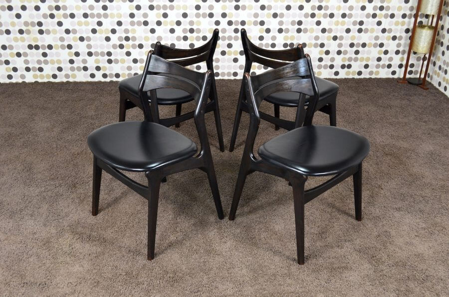 4 chaises danoise mod le 310 erik buck vintage 1960. Black Bedroom Furniture Sets. Home Design Ideas