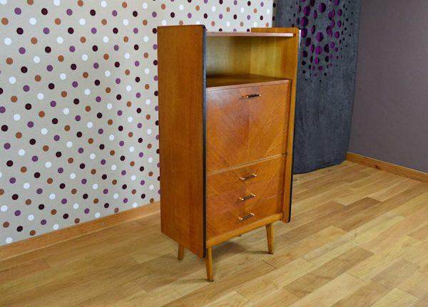 Secrétaire Vintage en Chêne Blond Pieds Compas 1960