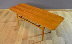 Table Basse Scandinave en Noyer Blond Vintage 1960
