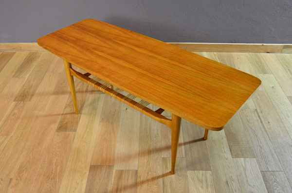 Table Basse Scandinave en Noyer Blond Vintage 1960