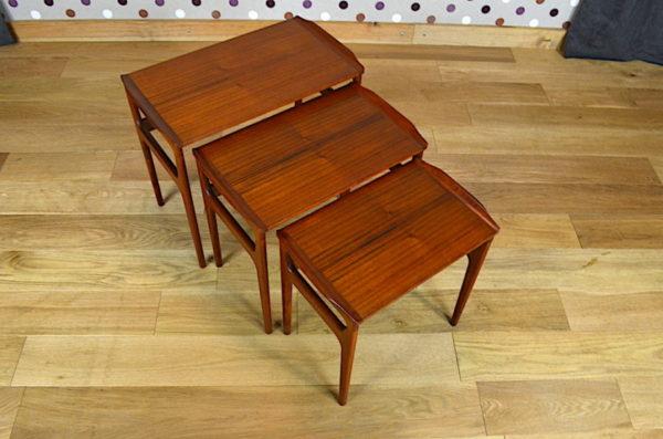 Tables Gigogne Danoise en Teck Erling Torvits 1960 Heltborg Mobler
