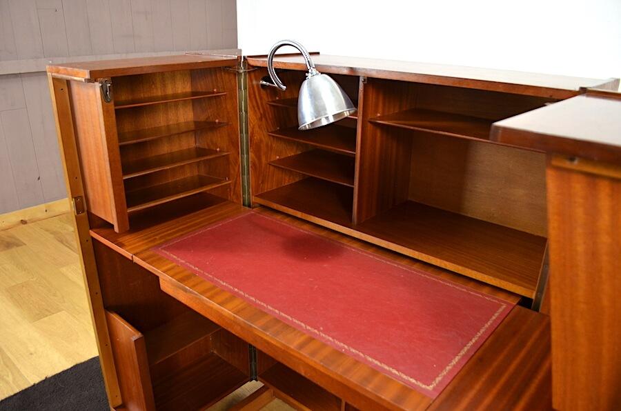 Bureau malle magic box en acajou merisier vintage