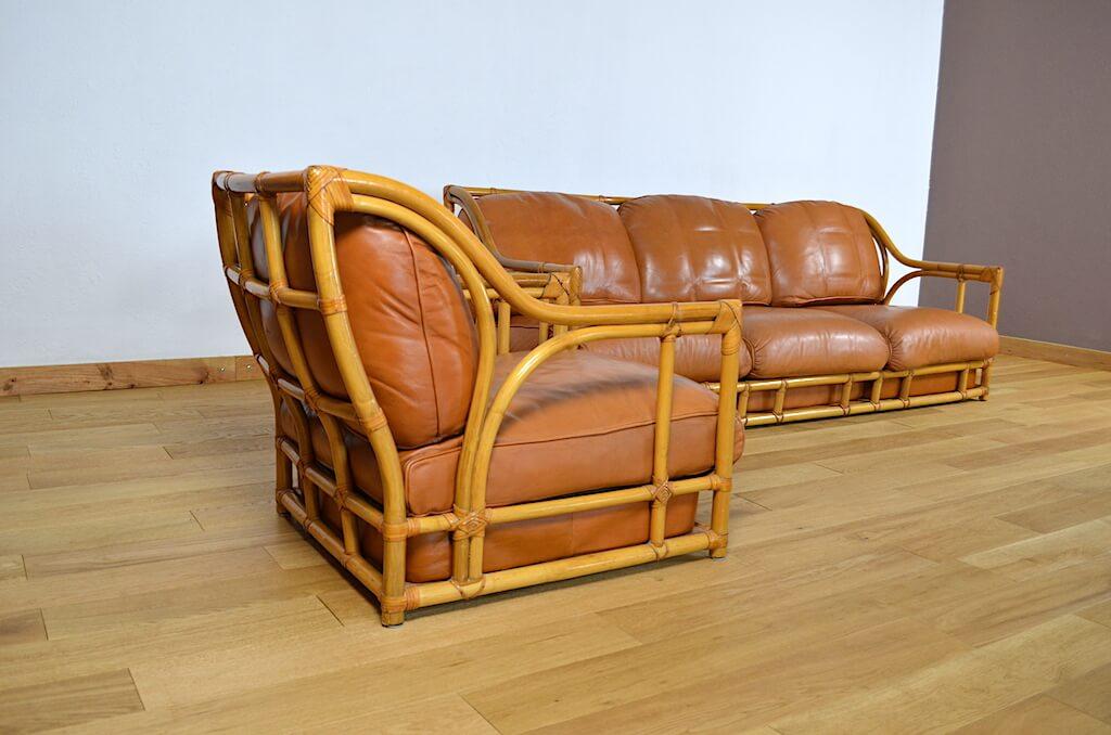 Salon Maugrion Banquette Fauteuil Bambou Cuir Vintage 1960 Designvintageavenue Com