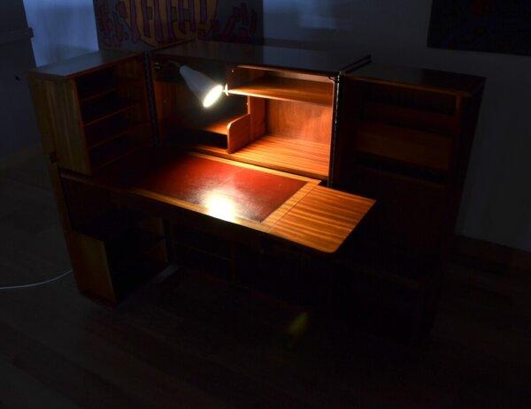 bureau malle vintage 1950 merisier acajou