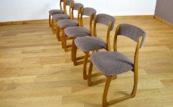 6 Chaises Traineaux Design Vintage Français 1960, série de sièges dans le goût scandinave en hêtre & tissus année 60.