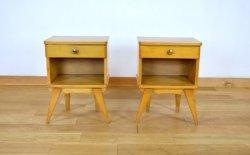 2 Chevets Chêne Blond & Pieds Compas Vintage 1960