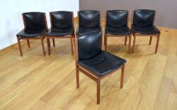 6 Chaises en Palissandre de Rio Tito Agnoli Vintage 1960 La Linéa