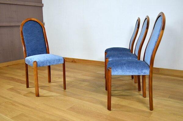 4 Chaises Bois & Velours Design Vintage