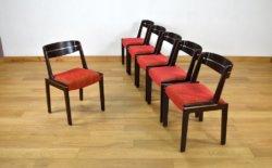 Série de 6 Chaises Vintage en Orme & Chrome 1960 dans le gout dus design scandinave