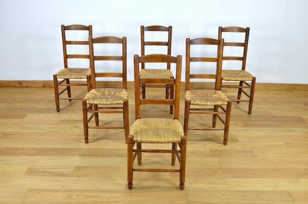 6 Chaises Rustique en Hêtre Assise Paillée 1950 / 1960 style perriand