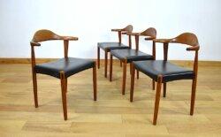 4 Fauteuils Danois en Teck Jacob Hermann 1960 randers mobelfabrik
