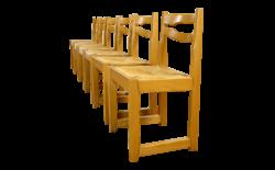 6 Chaises Vintage en Orme & Assise Paille 1970 / 1980