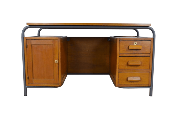 Bureau Vintage Chêne & Métal 1950