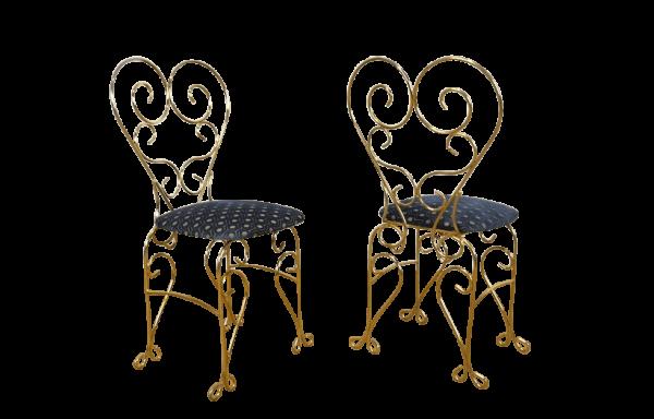 Paire de Chaises Vintage Dorée Dossier Coeur 1960