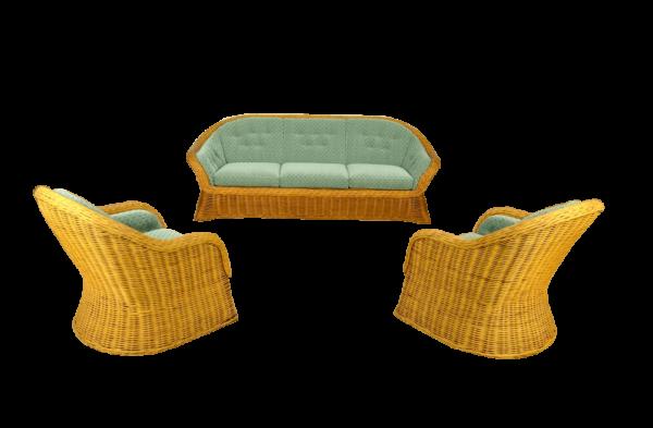 Salon Rotin Vintage: 1 Canapé 3 Places & 2 Fauteuils