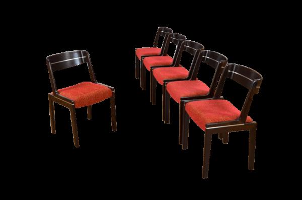 Série de 6 Chaises Vintage en Orme & Chrome 1960