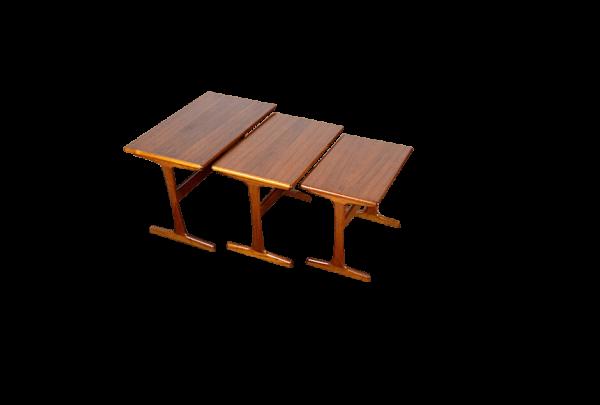 Tables Scandinave Gigogne en Teck Kai Kristiansen 1960