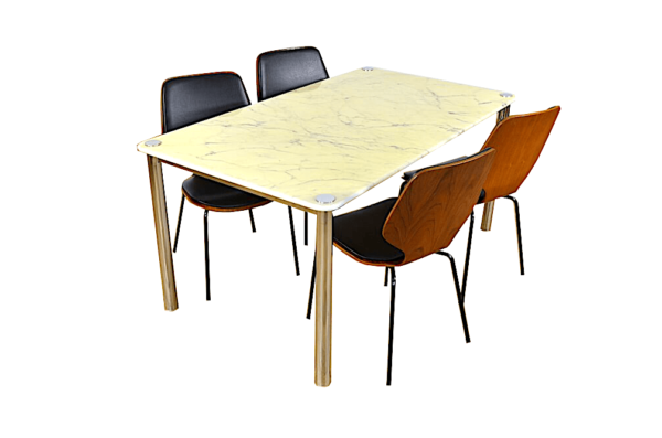 Table Design Vintage & Italien Marbre et Chrome 1970