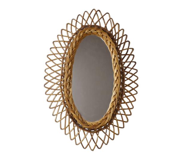 Miroir Ovale en Rotin Vintage années 60
