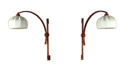 Paire d'Appliques Design Scandinave en Teck Vintage 1970