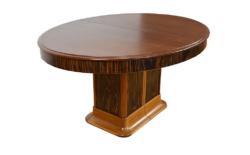 Table Art-Déco Ovale en Acajou & Macassar 1930