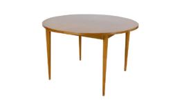 Table Ronde en Bois Blond Design Français Années 50